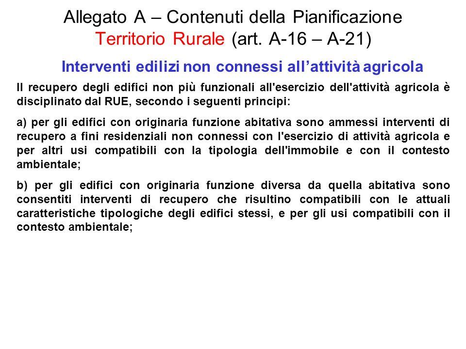Allegato A – Contenuti della Pianificazione Territorio Rurale (art. A-16 – A-21) Interventi edilizi non connessi allattività agricola Il recupero degl
