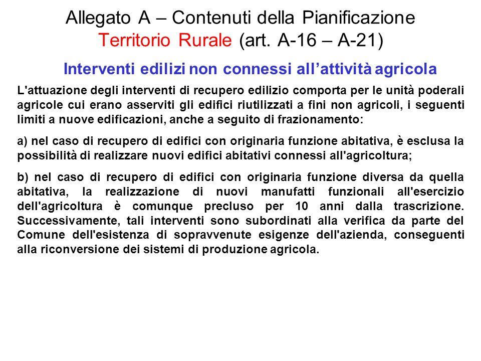 Allegato A – Contenuti della Pianificazione Territorio Rurale (art. A-16 – A-21) Interventi edilizi non connessi allattività agricola L'attuazione deg