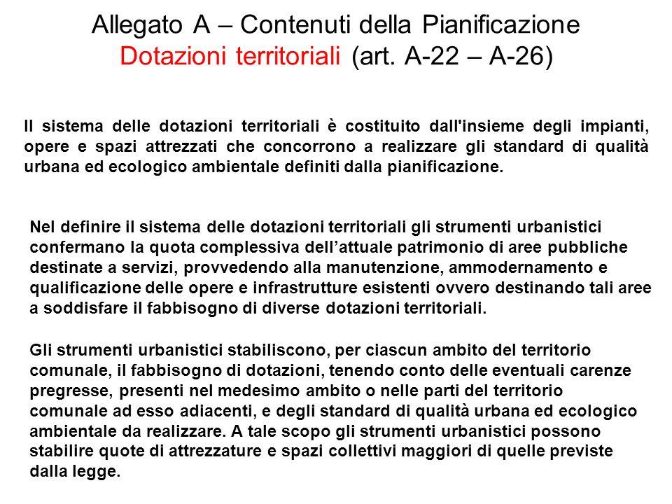 Allegato A – Contenuti della Pianificazione Dotazioni territoriali (art. A-22 – A-26) Il sistema delle dotazioni territoriali è costituito dall'insiem