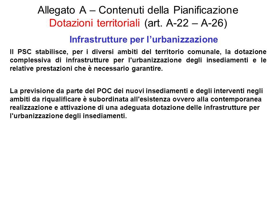 Allegato A – Contenuti della Pianificazione Dotazioni territoriali (art. A-22 – A-26) Infrastrutture per lurbanizzazione Il PSC stabilisce, per i dive