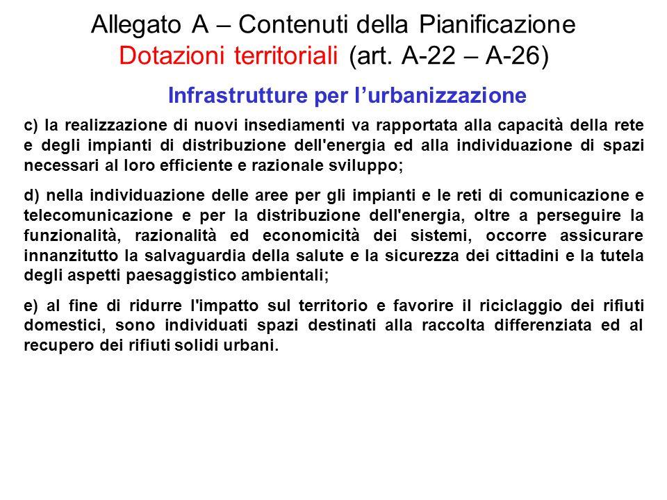 Allegato A – Contenuti della Pianificazione Dotazioni territoriali (art. A-22 – A-26) Infrastrutture per lurbanizzazione c) la realizzazione di nuovi