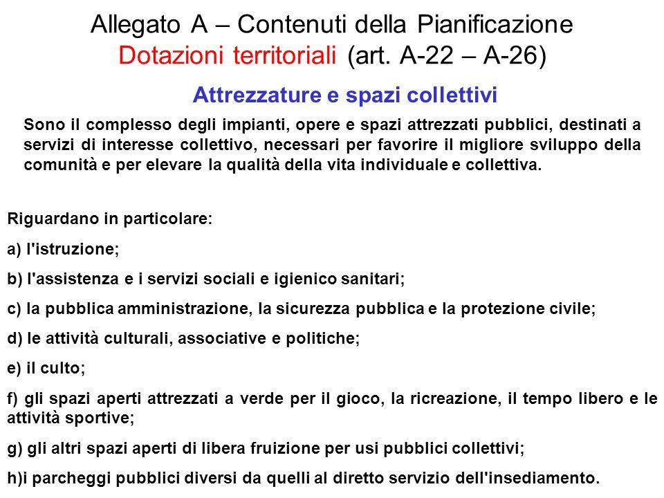 Allegato A – Contenuti della Pianificazione Dotazioni territoriali (art. A-22 – A-26) Attrezzature e spazi collettivi Sono il complesso degli impianti
