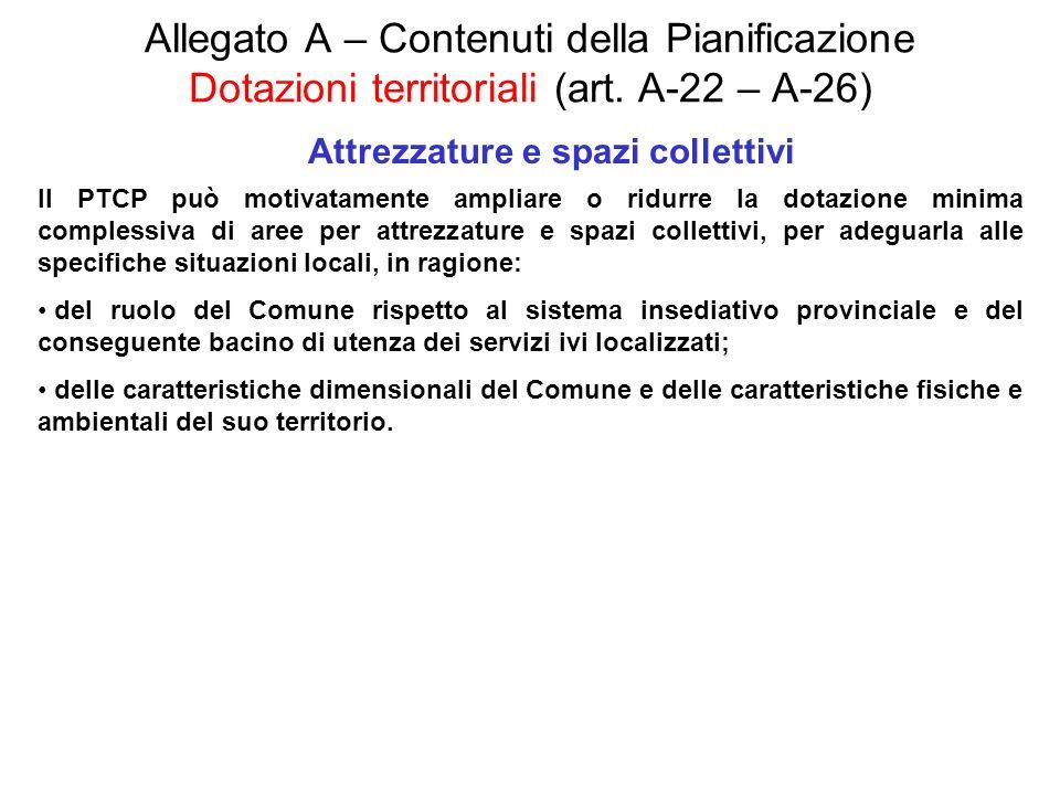 Allegato A – Contenuti della Pianificazione Dotazioni territoriali (art. A-22 – A-26) Attrezzature e spazi collettivi Il PTCP può motivatamente amplia