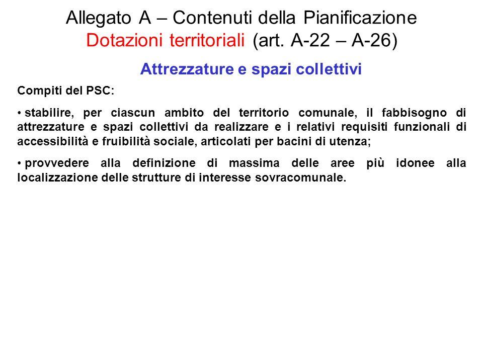 Allegato A – Contenuti della Pianificazione Dotazioni territoriali (art. A-22 – A-26) Attrezzature e spazi collettivi Compiti del PSC: stabilire, per