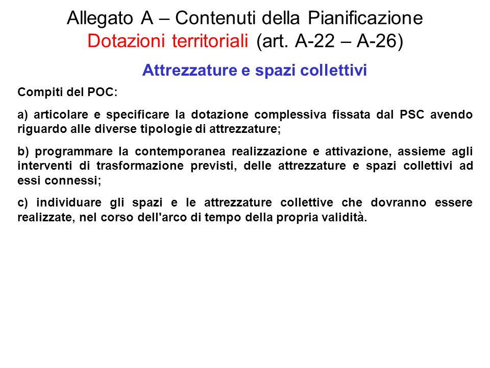 Allegato A – Contenuti della Pianificazione Dotazioni territoriali (art. A-22 – A-26) Attrezzature e spazi collettivi Compiti del POC: a) articolare e