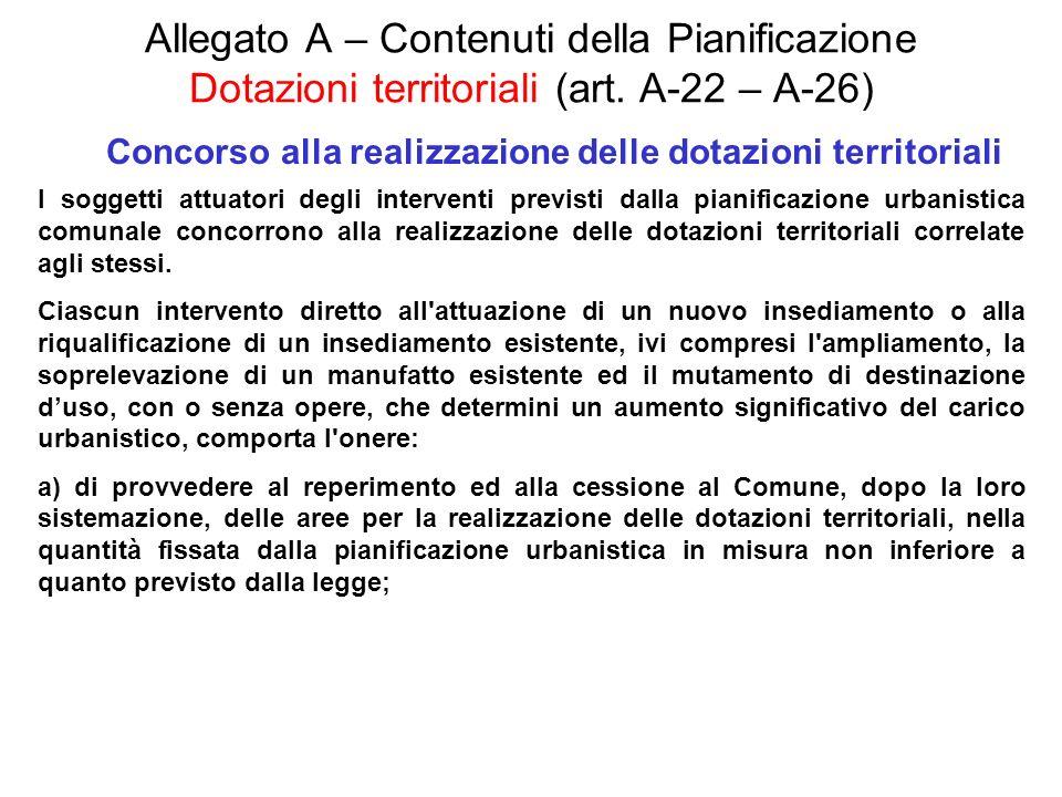 Allegato A – Contenuti della Pianificazione Dotazioni territoriali (art. A-22 – A-26) Concorso alla realizzazione delle dotazioni territoriali I sogge