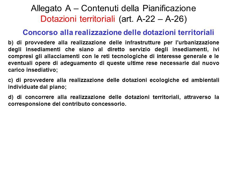 Allegato A – Contenuti della Pianificazione Dotazioni territoriali (art. A-22 – A-26) Concorso alla realizzazione delle dotazioni territoriali b) di p
