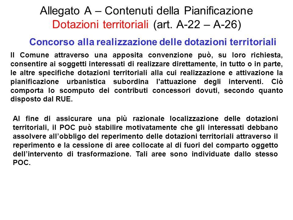 Allegato A – Contenuti della Pianificazione Dotazioni territoriali (art. A-22 – A-26) Concorso alla realizzazione delle dotazioni territoriali Il Comu