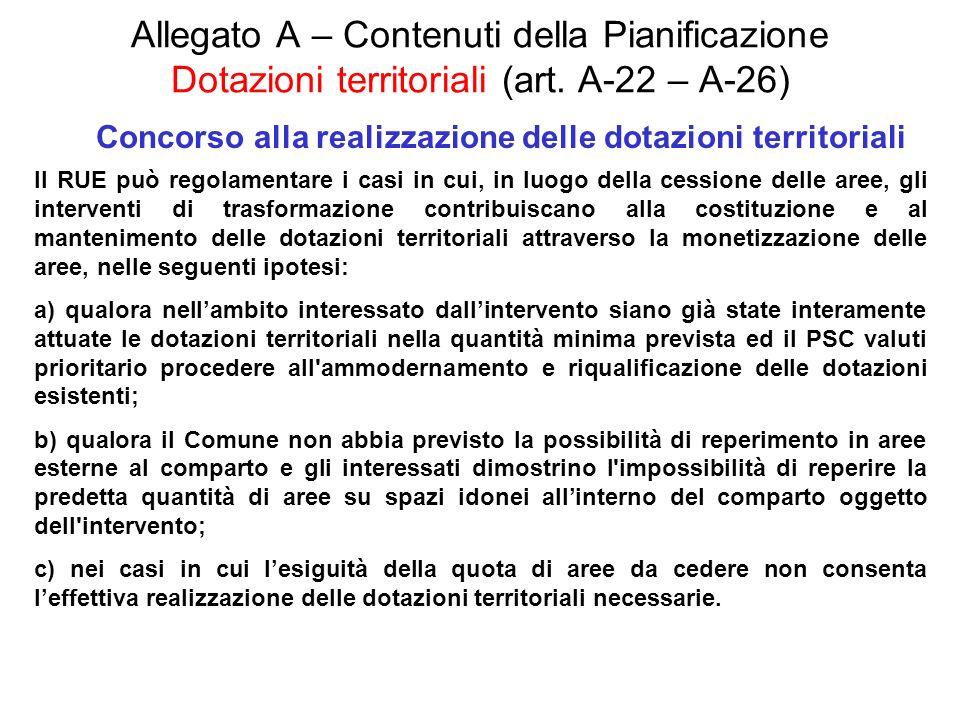 Allegato A – Contenuti della Pianificazione Dotazioni territoriali (art. A-22 – A-26) Concorso alla realizzazione delle dotazioni territoriali Il RUE