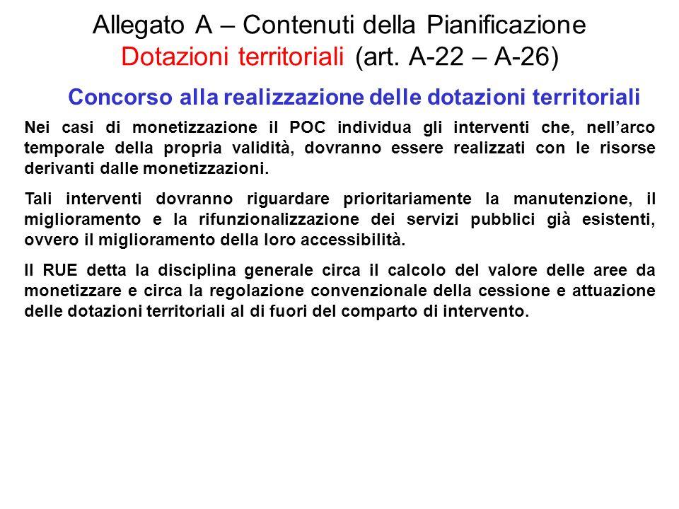 Allegato A – Contenuti della Pianificazione Dotazioni territoriali (art. A-22 – A-26) Concorso alla realizzazione delle dotazioni territoriali Nei cas