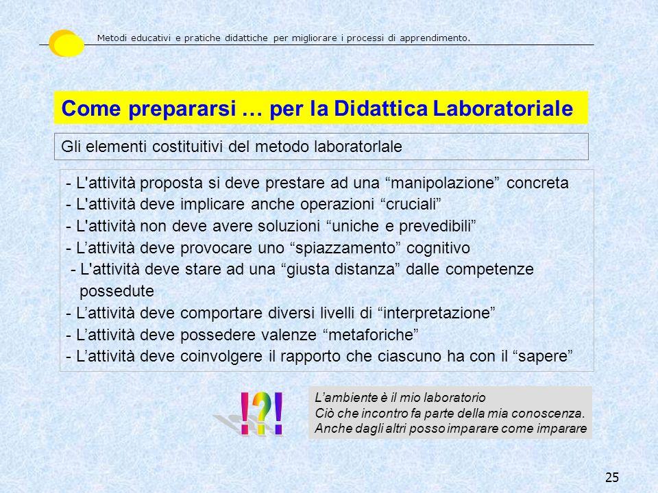 25 Come prepararsi … per la Didattica Laboratoriale Gli elementi costituitivi del metodo laboratorlale - L'attività proposta si deve prestare ad una m