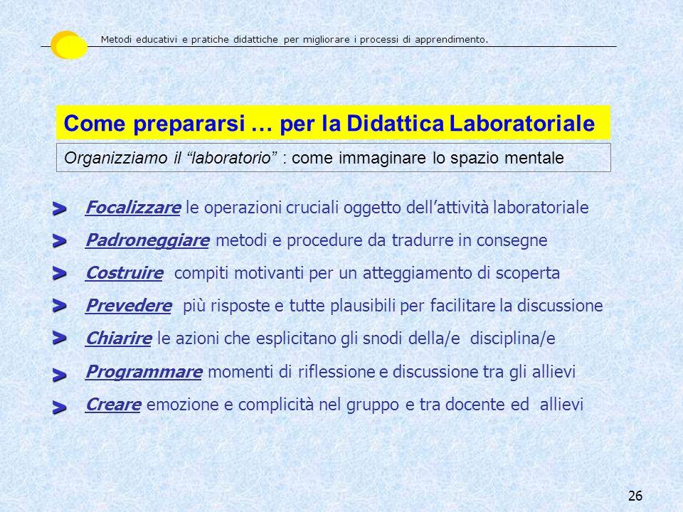 26 Come prepararsi … per la Didattica Laboratoriale Organizziamo il laboratorio : come immaginare lo spazio mentale Focalizzare le operazioni cruciali