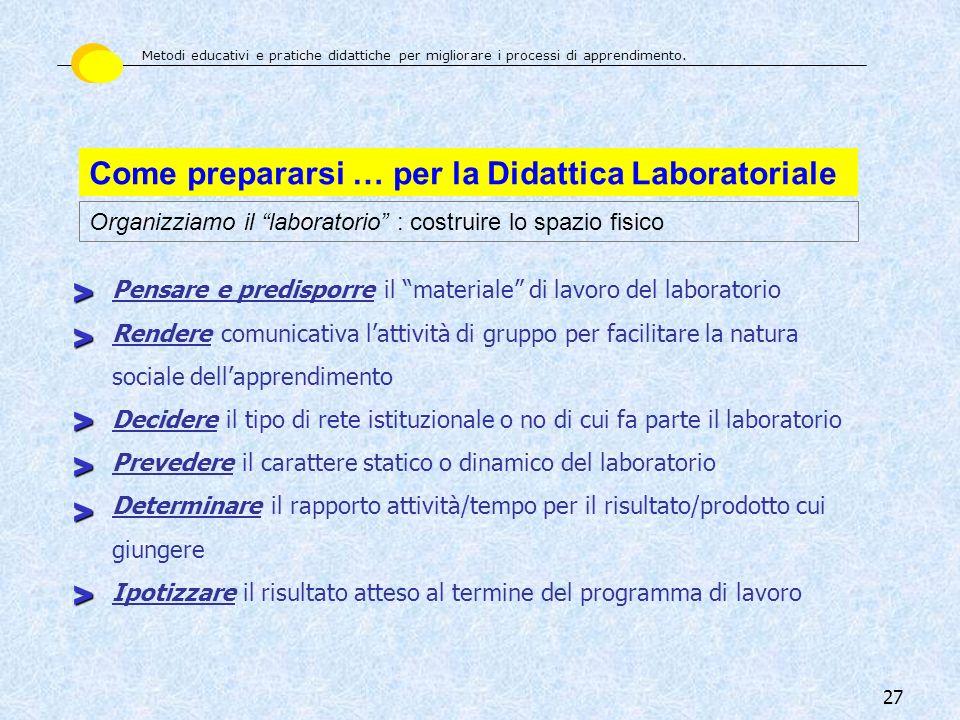 27 Come prepararsi … per la Didattica Laboratoriale Organizziamo il laboratorio : costruire lo spazio fisico Pensare e predisporre il materiale di lav