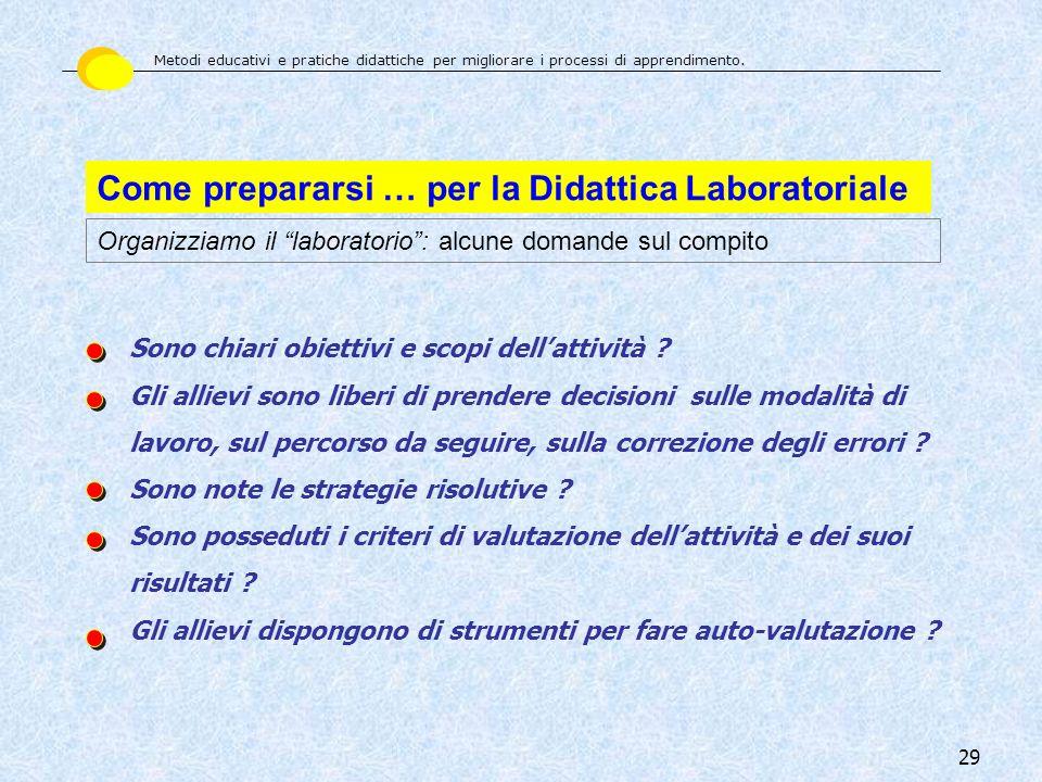 29 Come prepararsi … per la Didattica Laboratoriale Organizziamo il laboratorio: alcune domande sul compito Sono chiari obiettivi e scopi dellattività