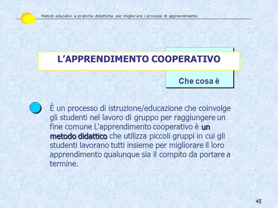 45 Che cosa è LAPPRENDIMENTO COOPERATIVO un metodo didattico È un processo di istruzione/educazione che coinvolge gli studenti nel lavoro di gruppo pe