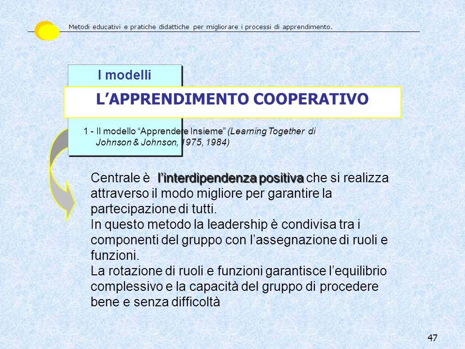 47 I modelli LAPPRENDIMENTO COOPERATIVO 1 - Il modello Apprendere Insieme (Learning Together di Johnson & Johnson, 1975, 1984) linterdipendenza positi