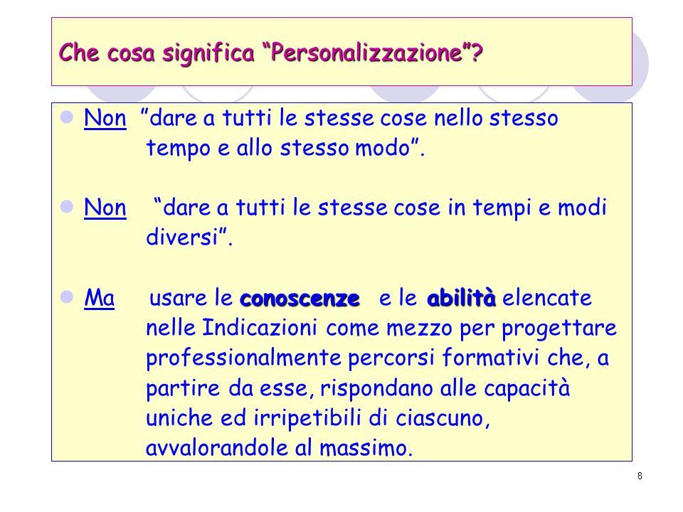 8 Che cosa significa Personalizzazione.