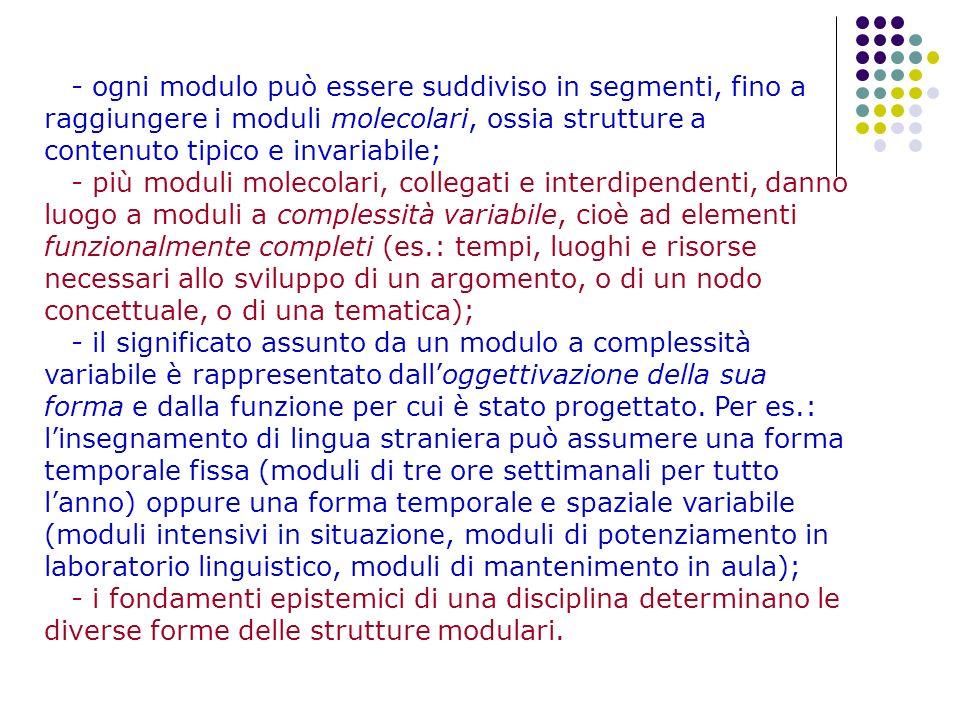 - ogni modulo può essere suddiviso in segmenti, fino a raggiungere i moduli molecolari, ossia strutture a contenuto tipico e invariabile; - più moduli