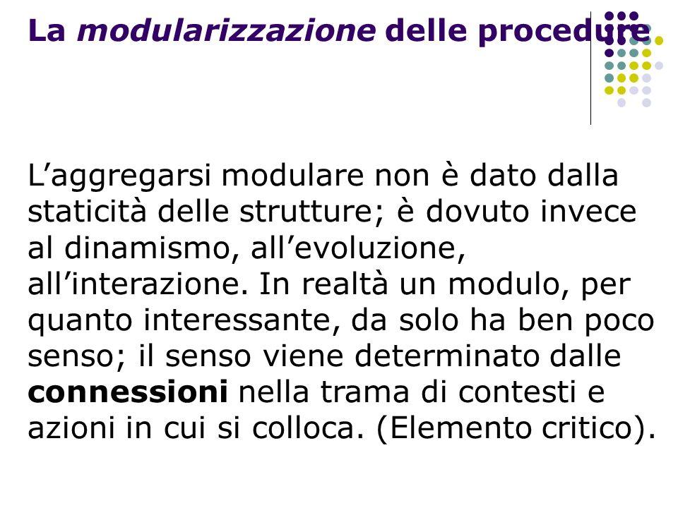 La modularizzazione delle procedure Laggregarsi modulare non è dato dalla staticità delle strutture; è dovuto invece al dinamismo, allevoluzione, alli