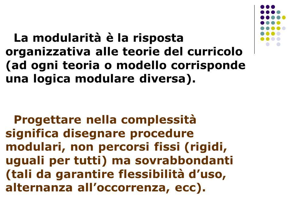 La modularità è la risposta organizzativa alle teorie del curricolo (ad ogni teoria o modello corrisponde una logica modulare diversa). Progettare nel