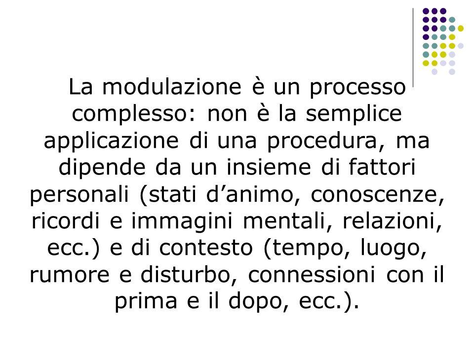 La modulazione è un processo complesso: non è la semplice applicazione di una procedura, ma dipende da un insieme di fattori personali (stati danimo,