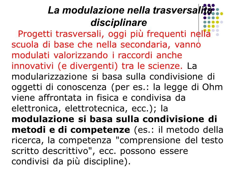 La modulazione nella trasversalità disciplinare Progetti trasversali, oggi più frequenti nella scuola di base che nella secondaria, vanno modulati val