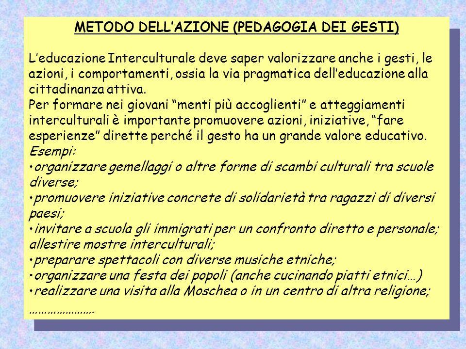 METODO DELLAZIONE (PEDAGOGIA DEI GESTI) Leducazione Interculturale deve saper valorizzare anche i gesti, le azioni, i comportamenti, ossia la via prag
