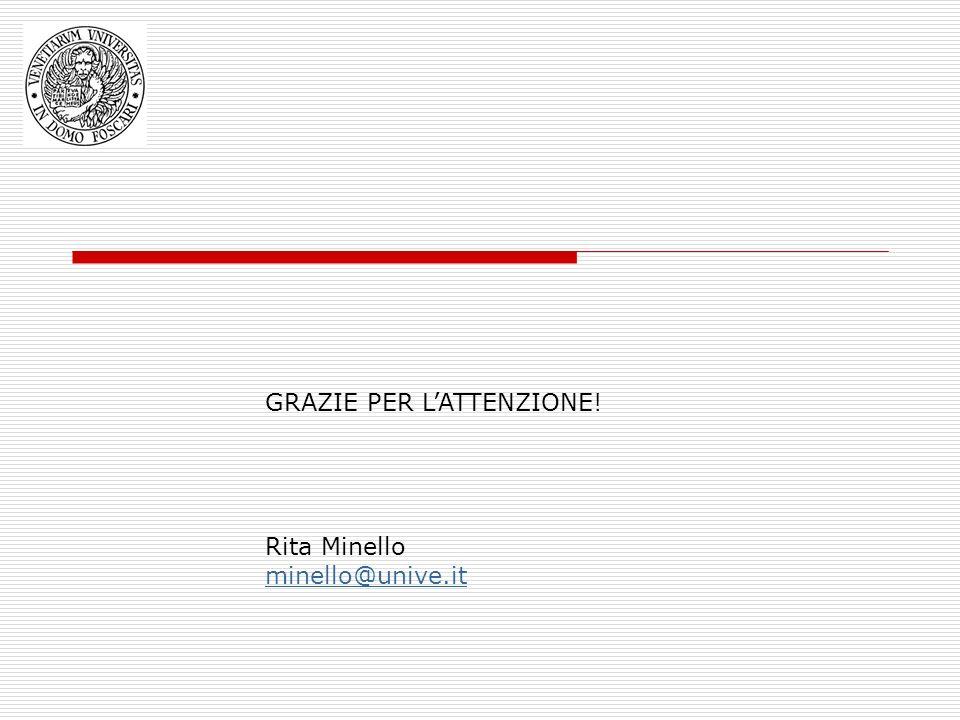 GRAZIE PER LATTENZIONE! Rita Minello minello@unive.it