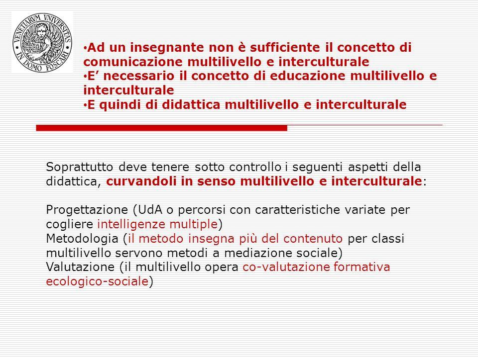 Ad un insegnante non è sufficiente il concetto di comunicazione multilivello e interculturale E necessario il concetto di educazione multilivello e in