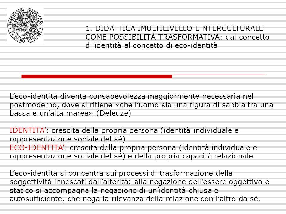 1. DIDATTICA IMULTILIVELLO E NTERCULTURALE COME POSSIBILITÀ TRASFORMATIVA: dal concetto di identità al concetto di eco-identità Leco-identità diventa