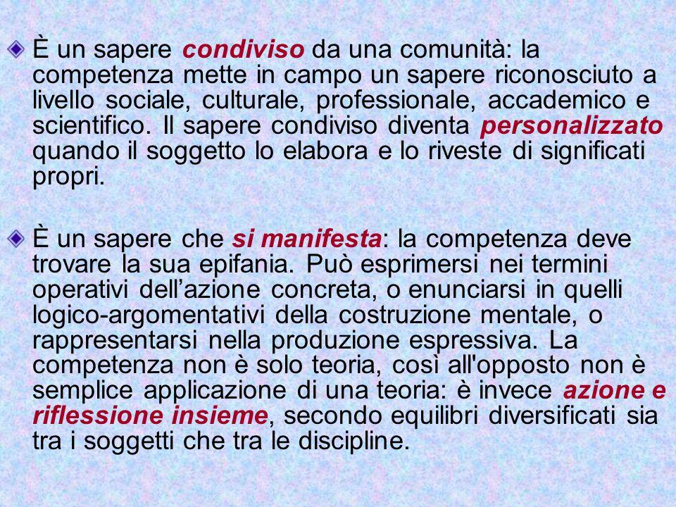 È un sapere condiviso da una comunità: la competenza mette in campo un sapere riconosciuto a livello sociale, culturale, professionale, accademico e s