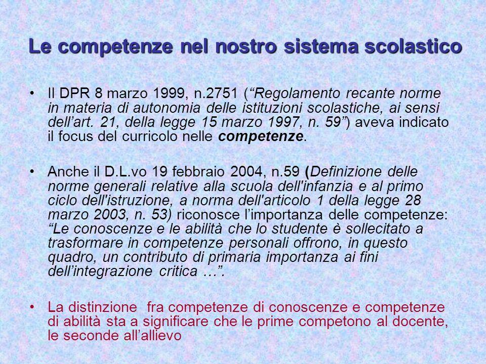 Le competenze nel nostro sistema scolastico Il DPR 8 marzo 1999, n.2751 (Regolamento recante norme in materia di autonomia delle istituzioni scolastic