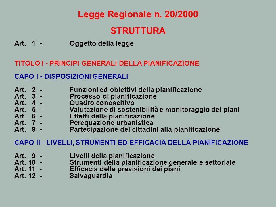Legge Regionale n. 20/2000 STRUTTURA Art. 1 - Oggetto della legge TITOLO I - PRINCIPI GENERALI DELLA PIANIFICAZIONE CAPO I - DISPOSIZIONI GENERALI Art