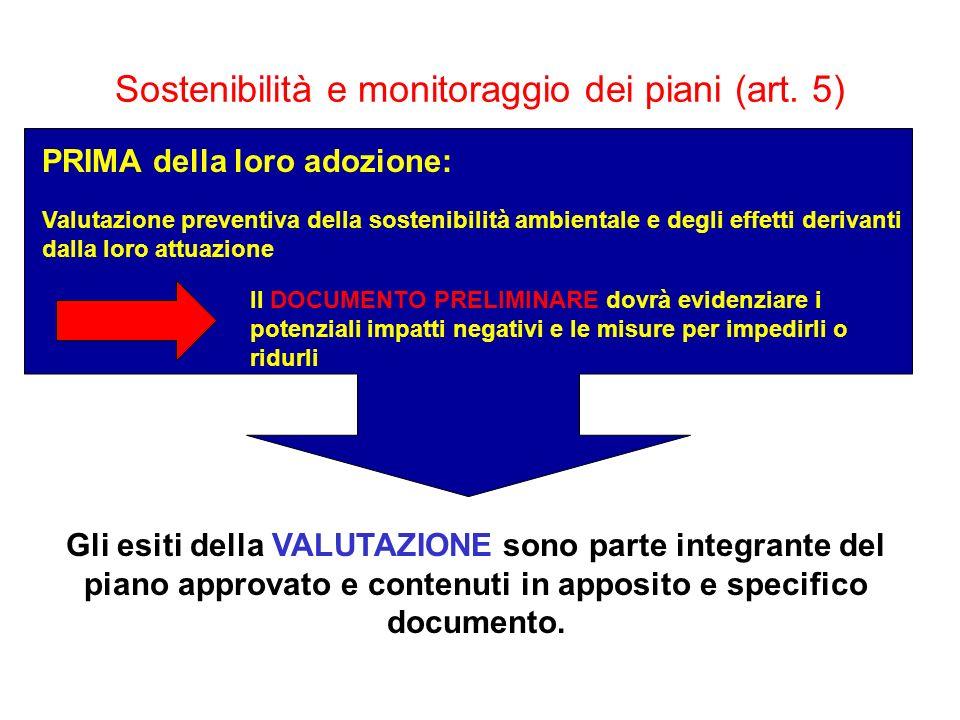 Sostenibilità e monitoraggio dei piani (art. 5) PRIMA della loro adozione: Valutazione preventiva della sostenibilità ambientale e degli effetti deriv