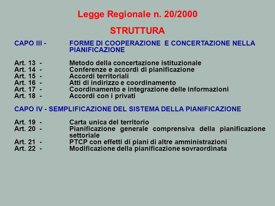 Legge Regionale n. 20/2000 STRUTTURA CAPO III -FORME DI COOPERAZIONE E CONCERTAZIONE NELLA PIANIFICAZIONE Art. 13 - Metodo della concertazione istituz
