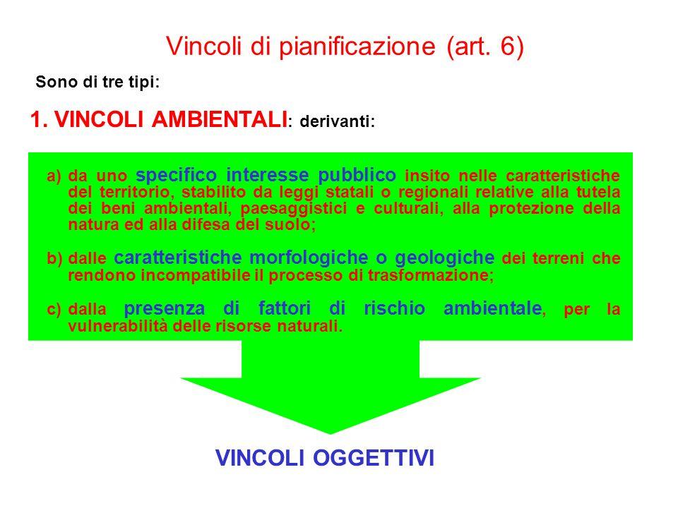Vincoli di pianificazione (art. 6) Sono di tre tipi: 1. VINCOLI AMBIENTALI : derivanti: a)da uno specifico interesse pubblico insito nelle caratterist