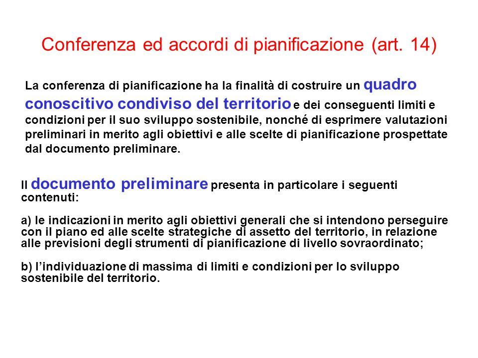 Conferenza ed accordi di pianificazione (art. 14) La conferenza di pianificazione ha la finalità di costruire un quadro conoscitivo condiviso del terr