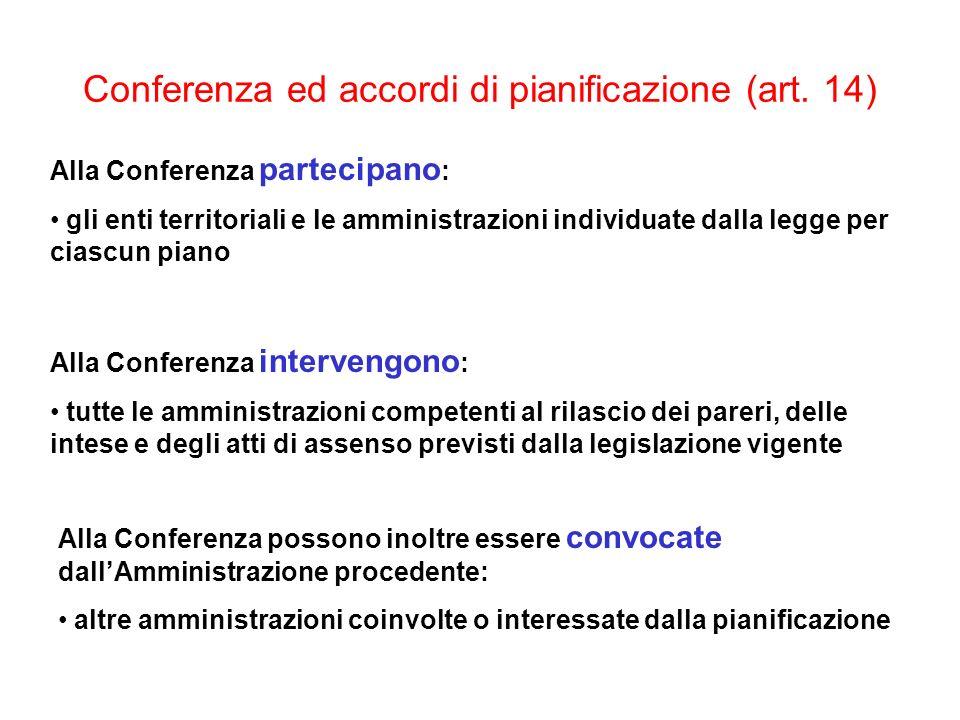 Conferenza ed accordi di pianificazione (art. 14) Alla Conferenza partecipano : gli enti territoriali e le amministrazioni individuate dalla legge per