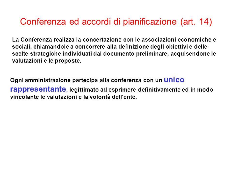 Conferenza ed accordi di pianificazione (art. 14) La Conferenza realizza la concertazione con le associazioni economiche e sociali, chiamandole a conc