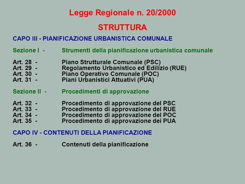 Legge Regionale n. 20/2000 STRUTTURA CAPO III - PIANIFICAZIONE URBANISTICA COMUNALE Sezione I - Strumenti della pianificazione urbanistica comunale Ar