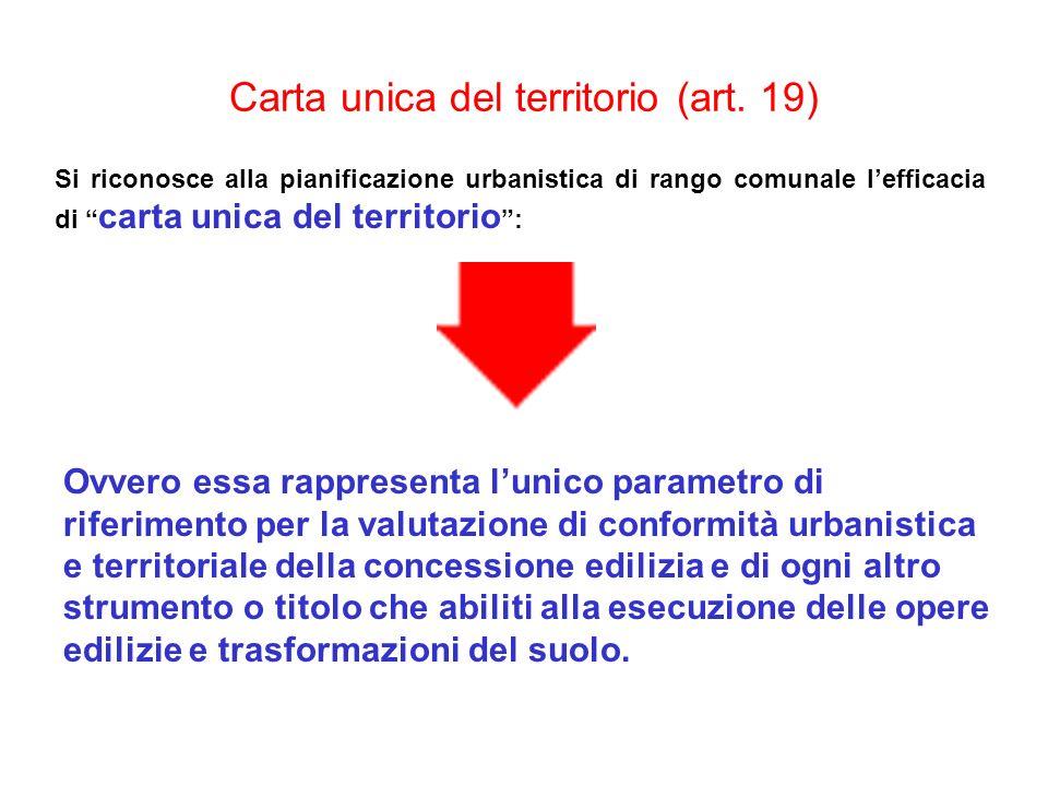 Carta unica del territorio (art. 19) Si riconosce alla pianificazione urbanistica di rango comunale lefficacia di carta unica del territorio : Ovvero