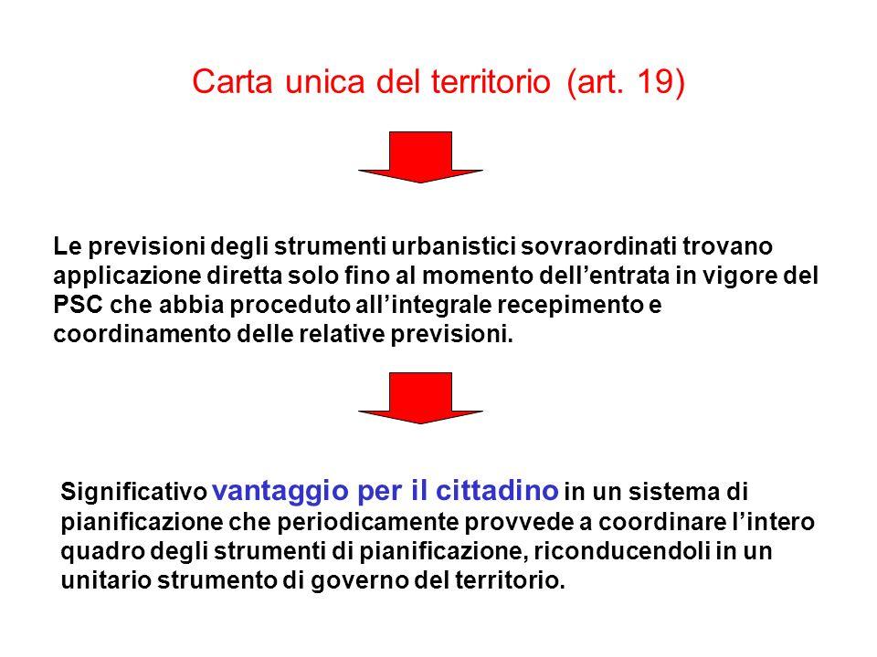 Carta unica del territorio (art. 19) Le previsioni degli strumenti urbanistici sovraordinati trovano applicazione diretta solo fino al momento dellent