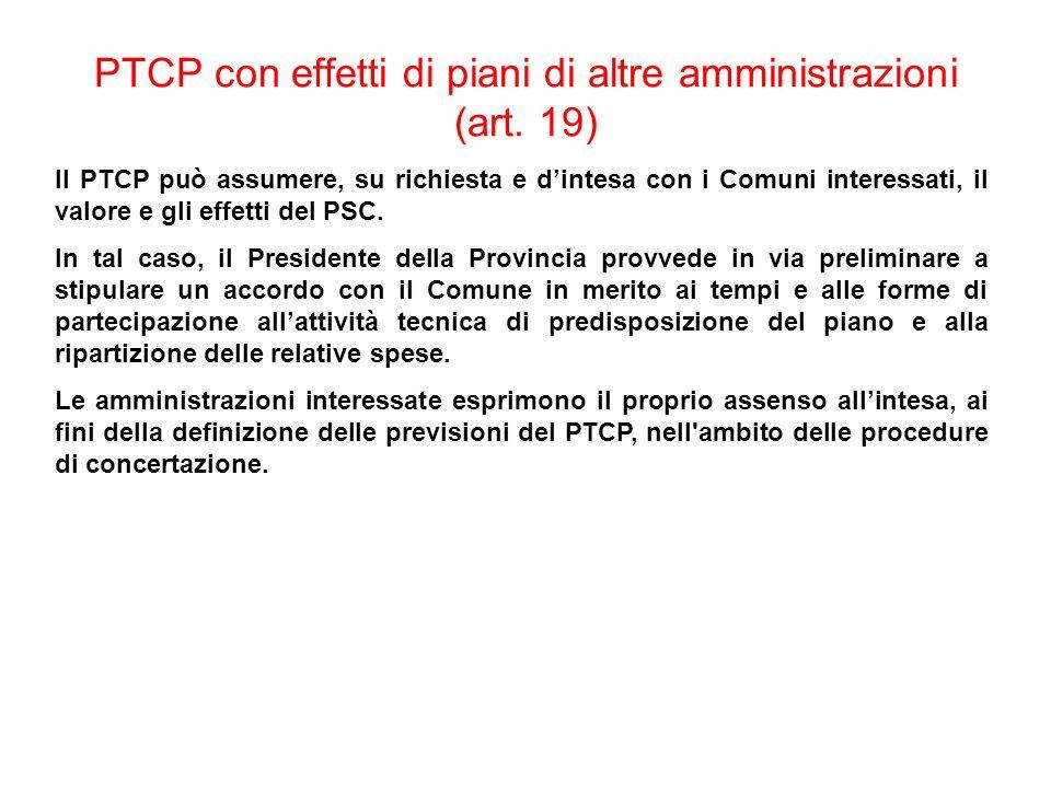 PTCP con effetti di piani di altre amministrazioni (art. 19) Il PTCP può assumere, su richiesta e dintesa con i Comuni interessati, il valore e gli ef