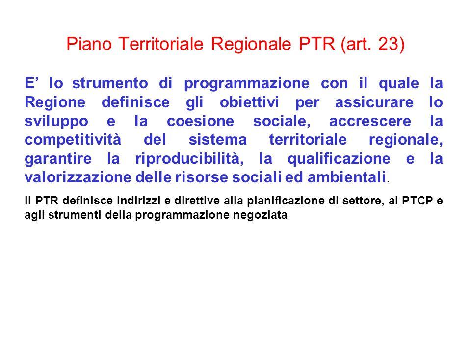 Piano Territoriale Regionale PTR (art. 23) E lo strumento di programmazione con il quale la Regione definisce gli obiettivi per assicurare lo sviluppo