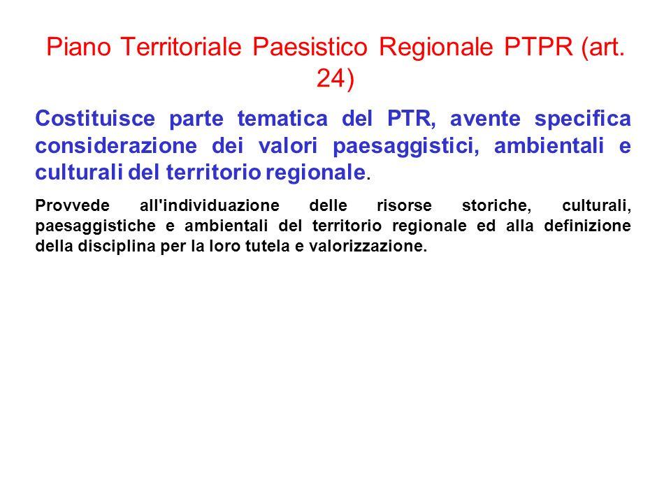 Piano Territoriale Paesistico Regionale PTPR (art. 24) Costituisce parte tematica del PTR, avente specifica considerazione dei valori paesaggistici, a