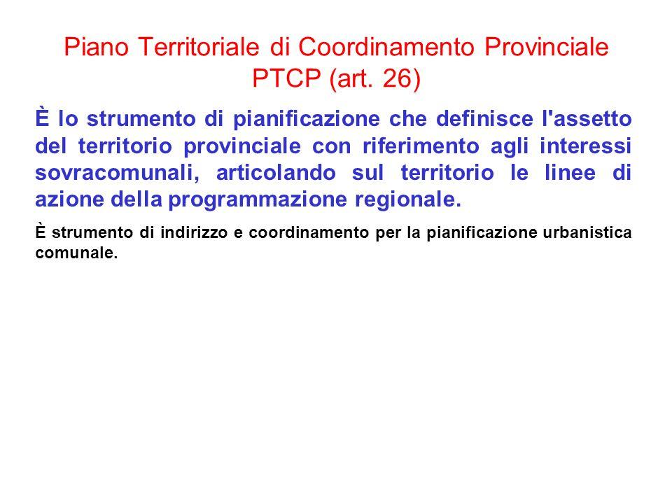 Piano Territoriale di Coordinamento Provinciale PTCP (art. 26) È lo strumento di pianificazione che definisce l'assetto del territorio provinciale con