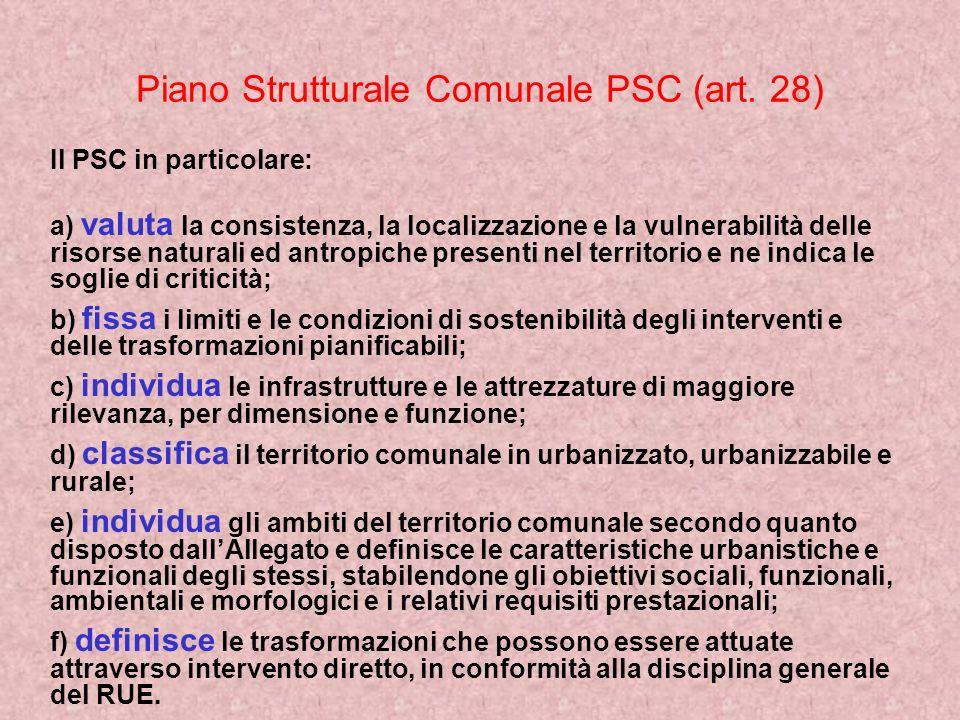 Piano Strutturale Comunale PSC (art. 28) Il PSC in particolare: a) valuta la consistenza, la localizzazione e la vulnerabilità delle risorse naturali