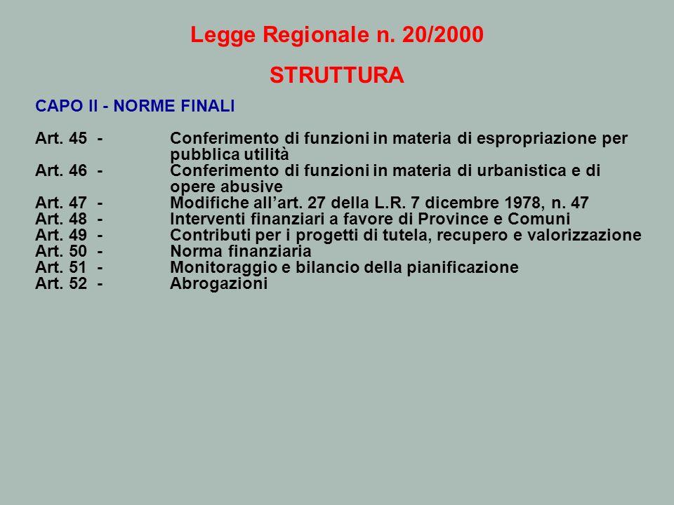 Legge Regionale n. 20/2000 STRUTTURA CAPO II - NORME FINALI Art. 45 - Conferimento di funzioni in materia di espropriazione per pubblica utilità Art.