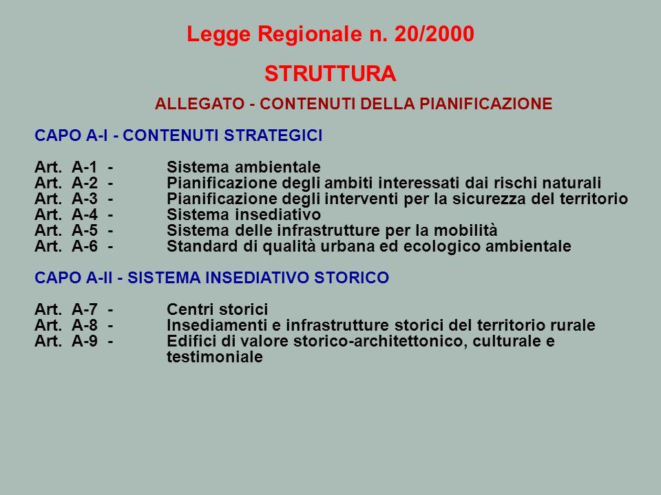 Legge Regionale n. 20/2000 STRUTTURA ALLEGATO - CONTENUTI DELLA PIANIFICAZIONE CAPO A-I - CONTENUTI STRATEGICI Art. A-1 - Sistema ambientale Art. A-2