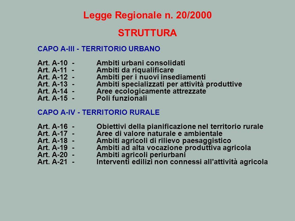 Legge Regionale n. 20/2000 STRUTTURA CAPO A-III - TERRITORIO URBANO Art. A-10 - Ambiti urbani consolidati Art. A-11 - Ambiti da riqualificare Art. A-1